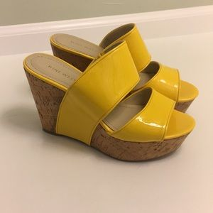 Nine West Yellow Patent Wedges